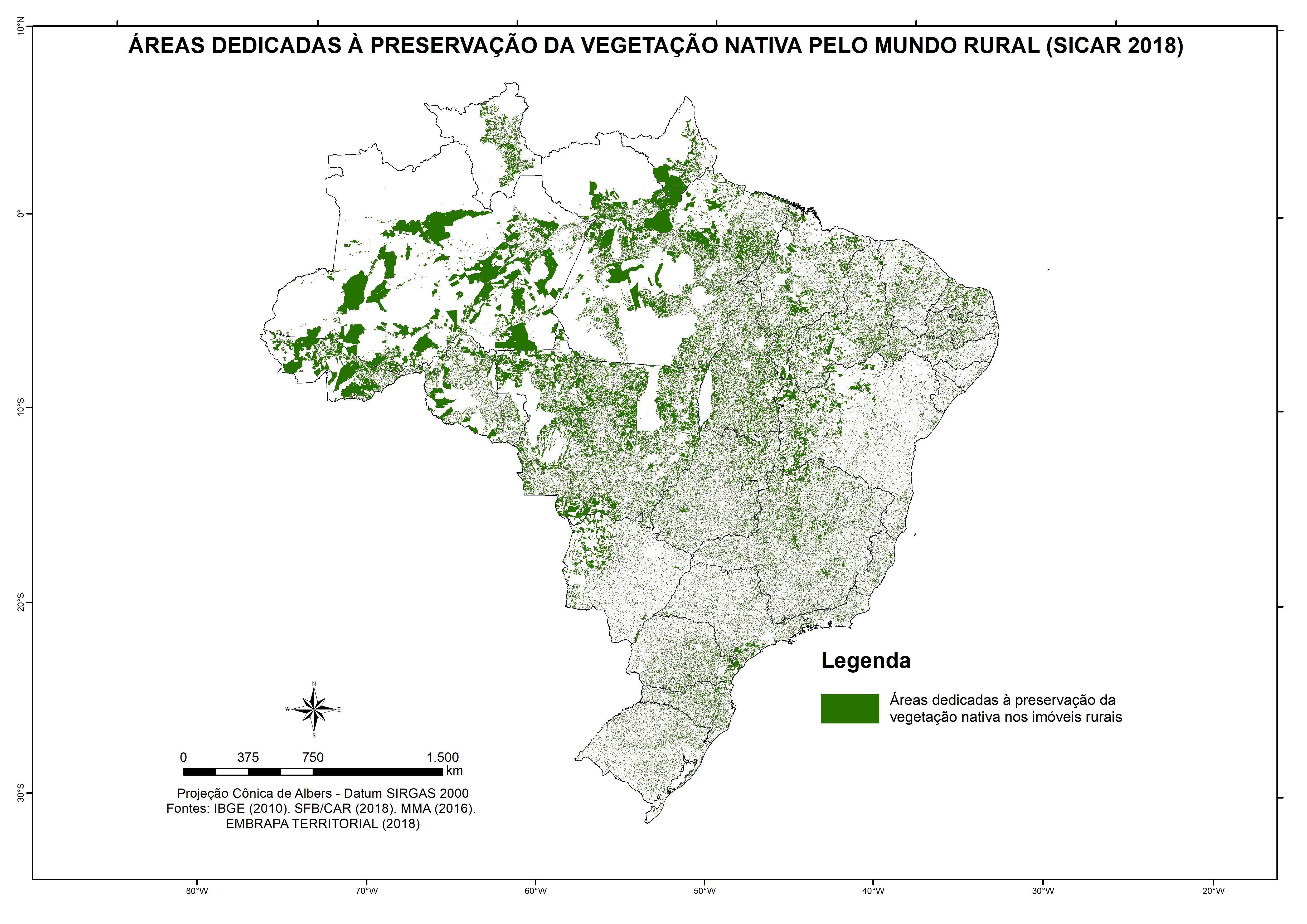 Áreas destinadas à preservação da vegetação nativa nos imóveis rurais (SICAR 2018)